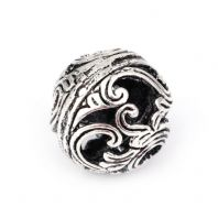 "5 Antique Silver Wave Pattern Round Beads About 14mm( 4/8"") Dia, Hole: Approx 0.8mm"